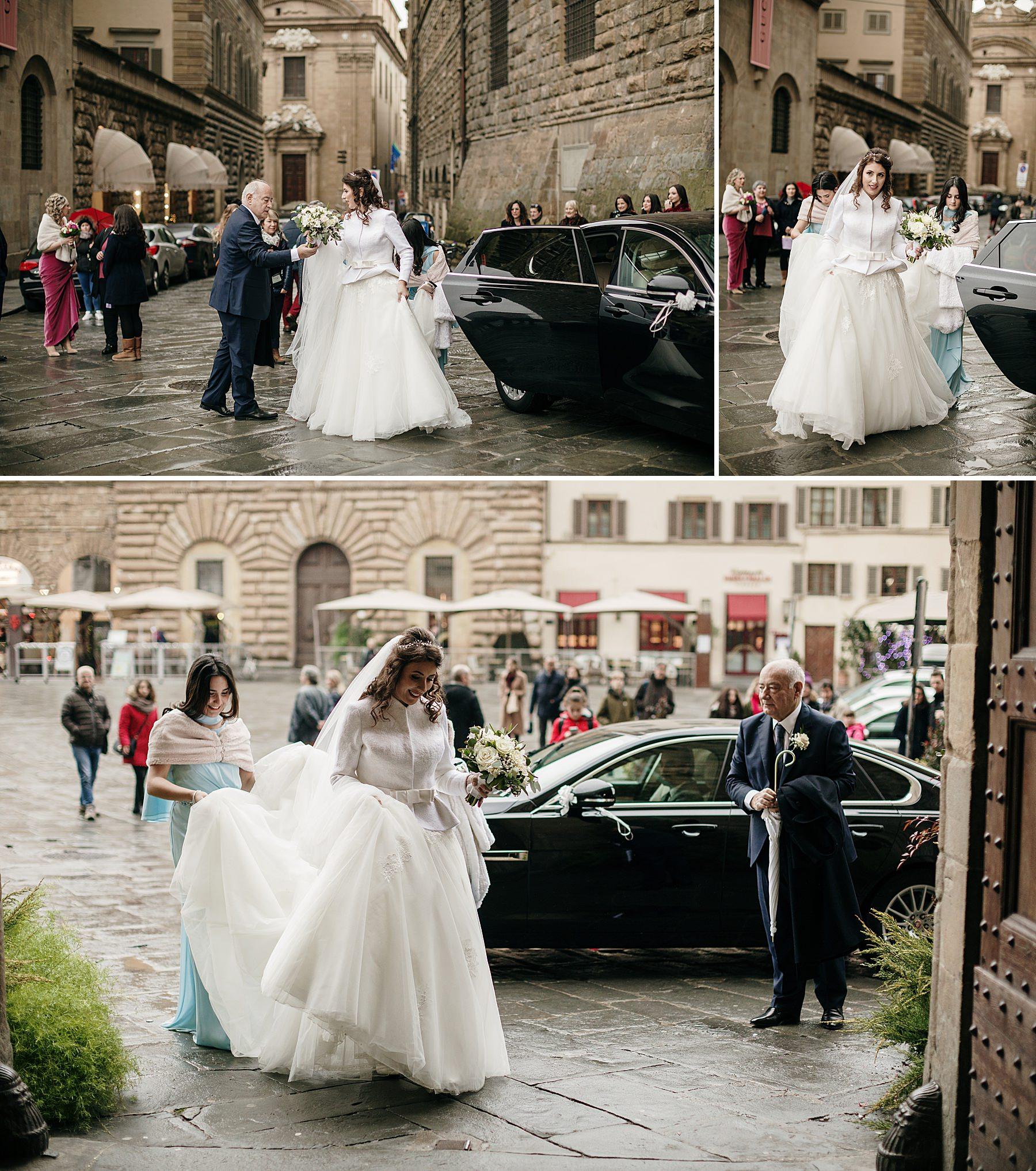 Matrimonio a Dicembre Palazzo Vecchio Firenze sposa