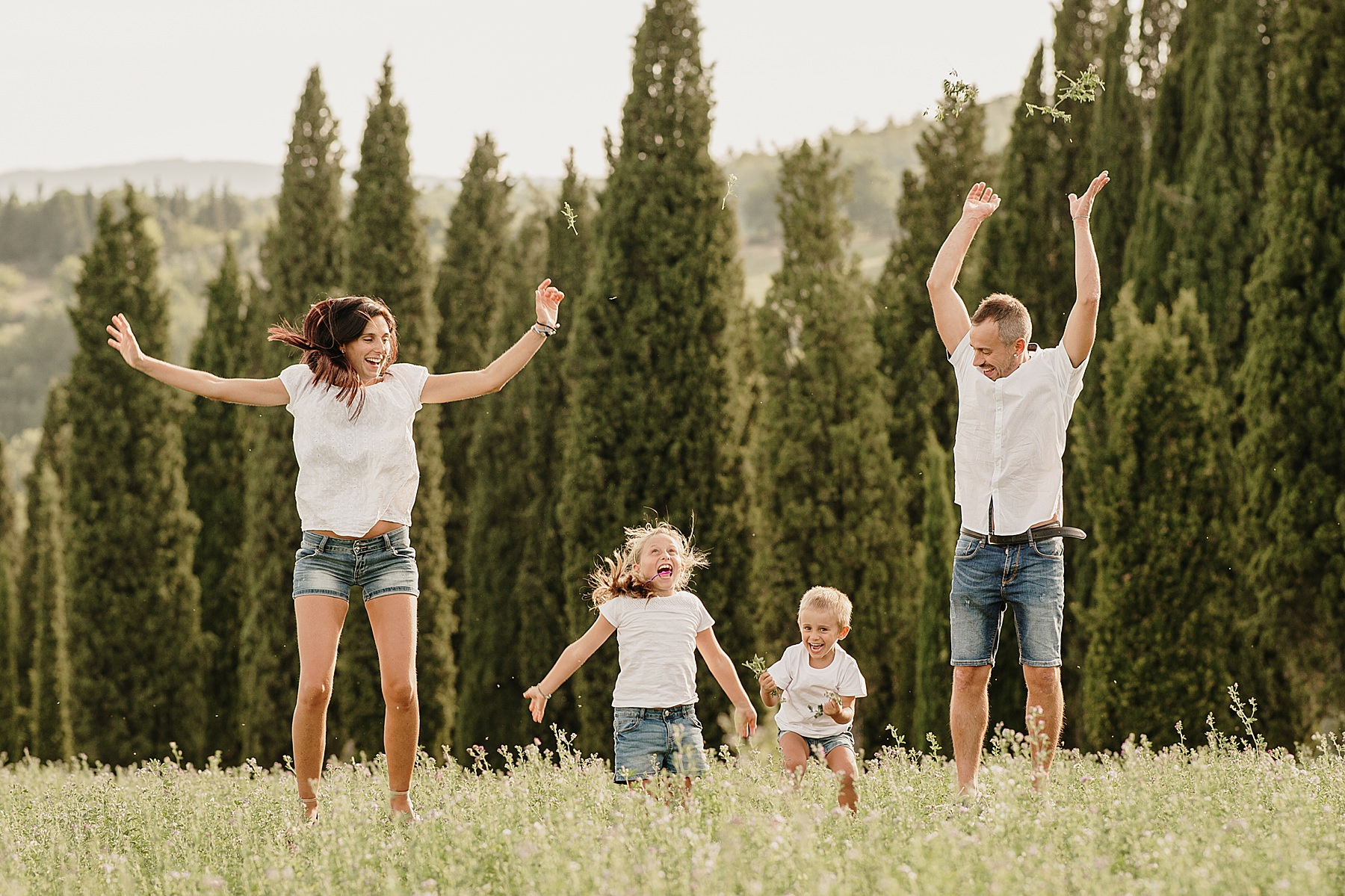 servizio fotografico di famiglia all'aperto