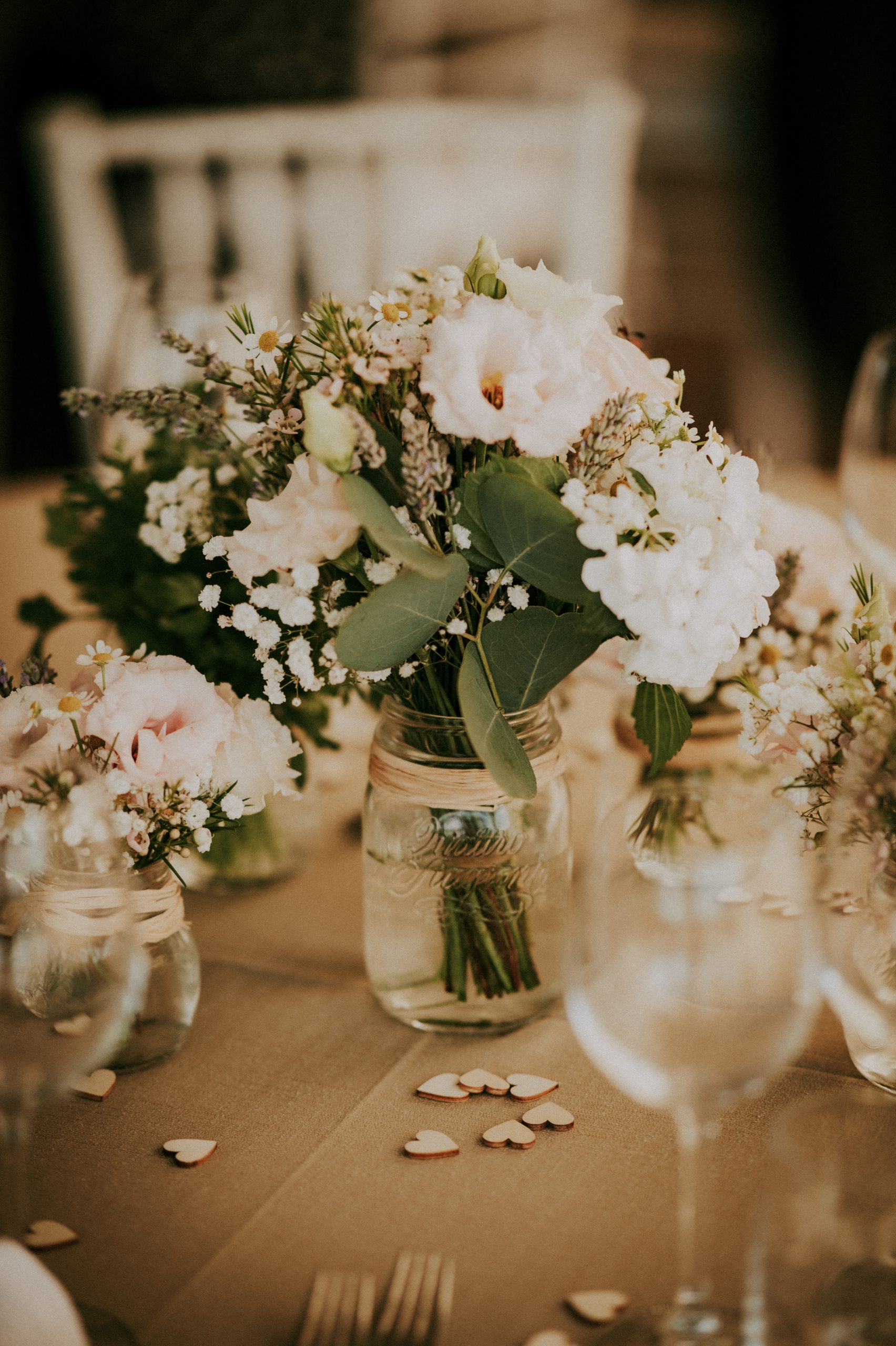 centro tavola tavolo matrimonio Villa di Corte