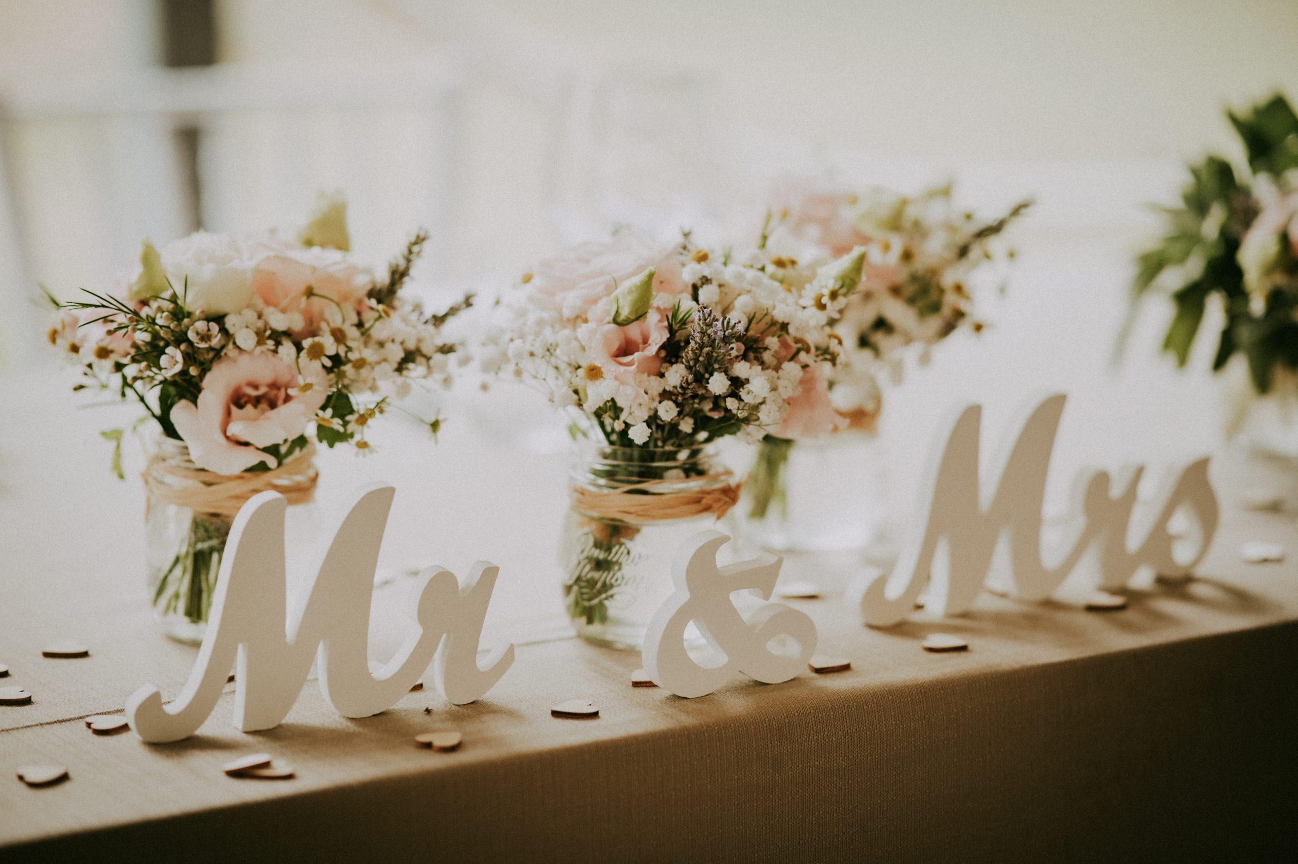 tavolo sposi mr&mrs matrimonio Villa di Corte