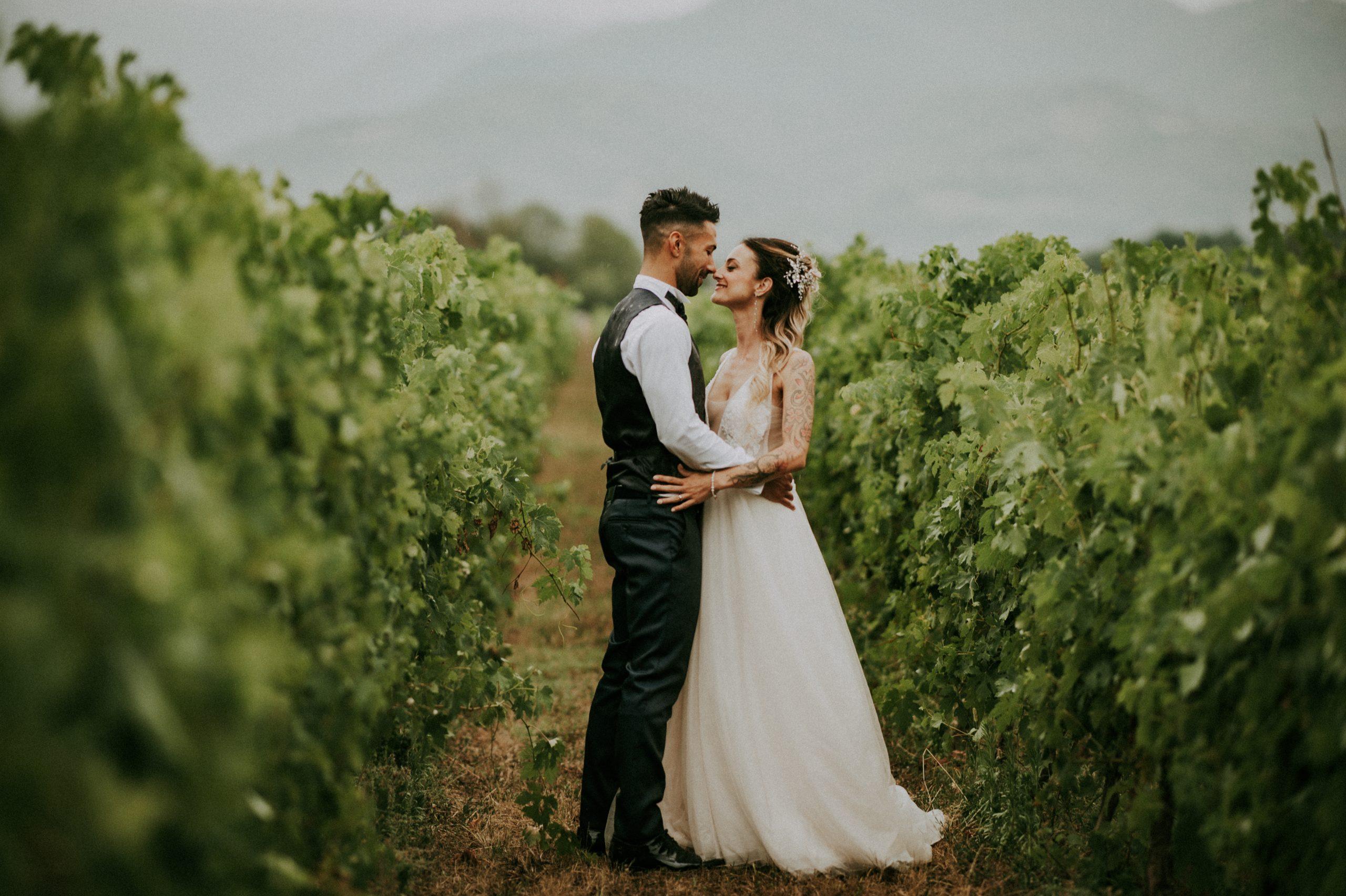 foto sposi in un filare di viti in Mugello